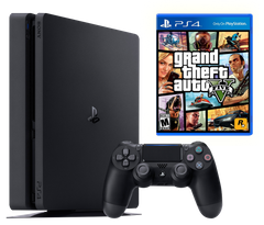 Sony Playstation 4 Slim 500Gb + GTA 5: Grand Theft Auto V, Черный, 500 ГБ