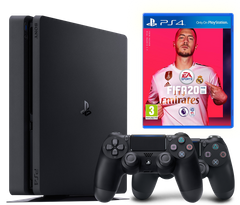 Sony Playstation 4 Slim 500Gb + FIFA 20 + Dualshock 4, Черный, 500 ГБ
