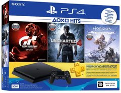 Sony PlayStation 4 Slim 500Gb (CUH-2208) +  Horizon Zero Dawn + Uncharted 4 + Gran Turismo Sport + PS Plus 3М, 500 ГБ
