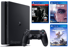 Sony Playstation 4 Slim 1Tb + Horizon Zero Dawn. Complete Edition + Detroit + The Last of Us, Черный, 1 ТБ